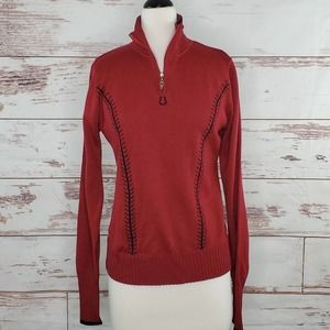 Kerrits Riding Sweater Pullover 1/4 zip Red Wool S